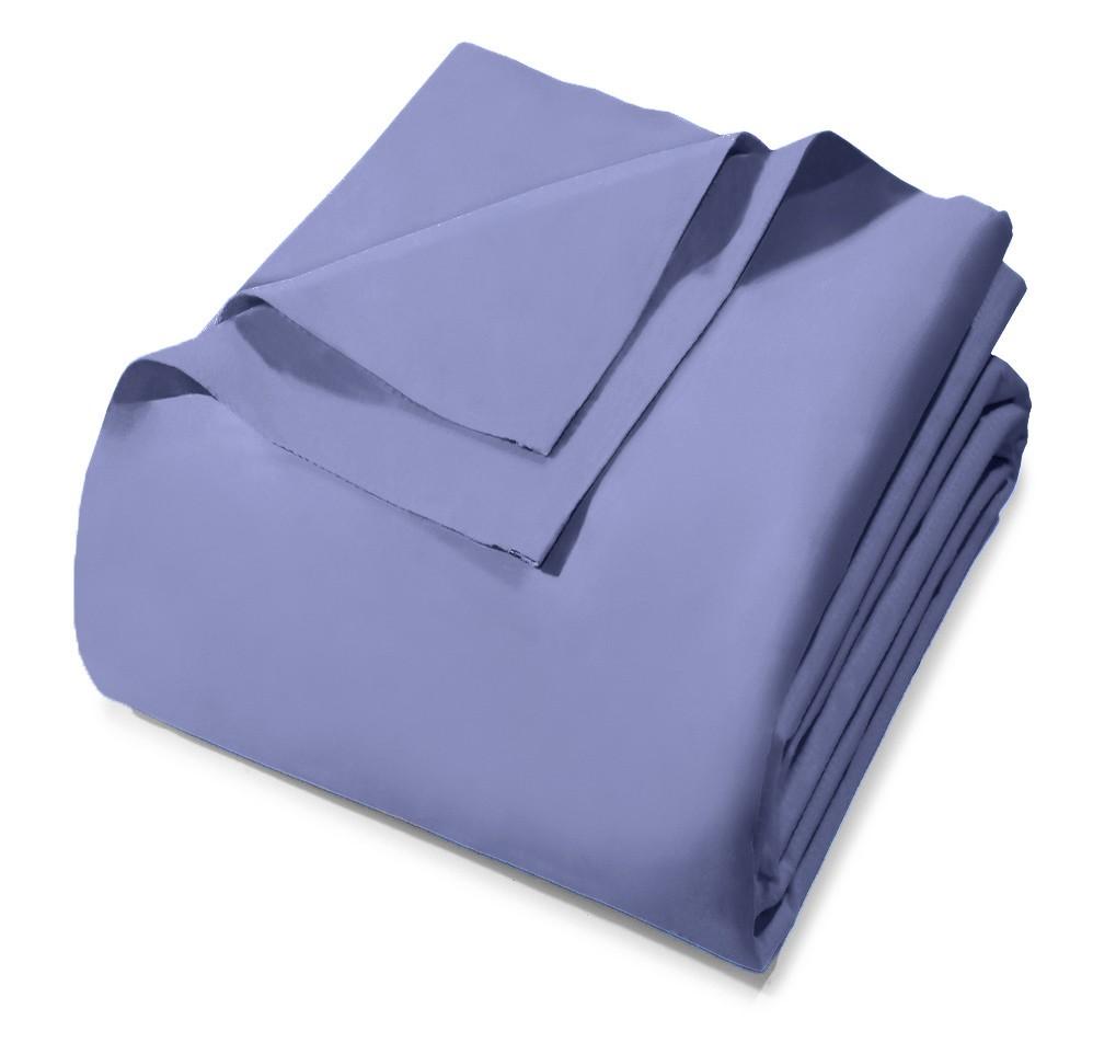 Lençol Avulso - Queen Size - Prata - Sem Elástico - Azul 6547 - 100% Algodão - 150 Fios - Santista