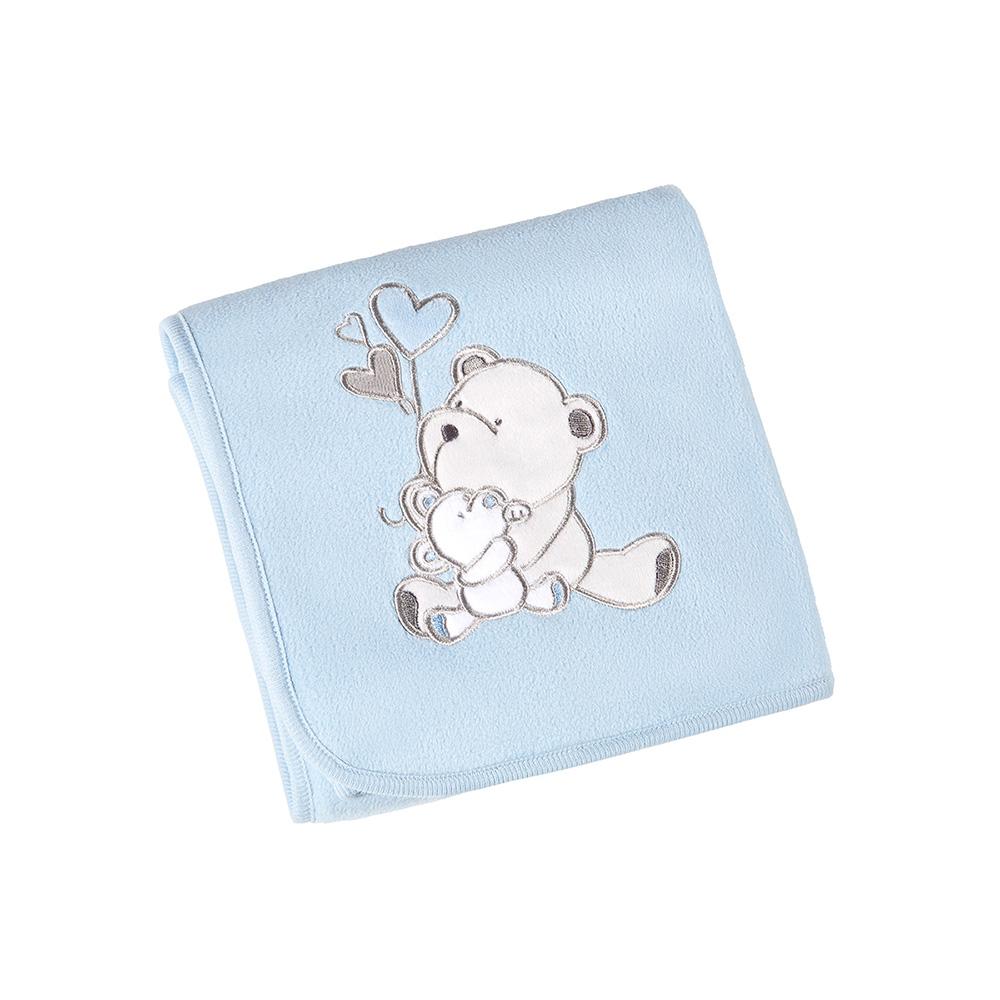 Manta Fleece - Linha Bebê - Bordada - Ursinho Azul - Lepper