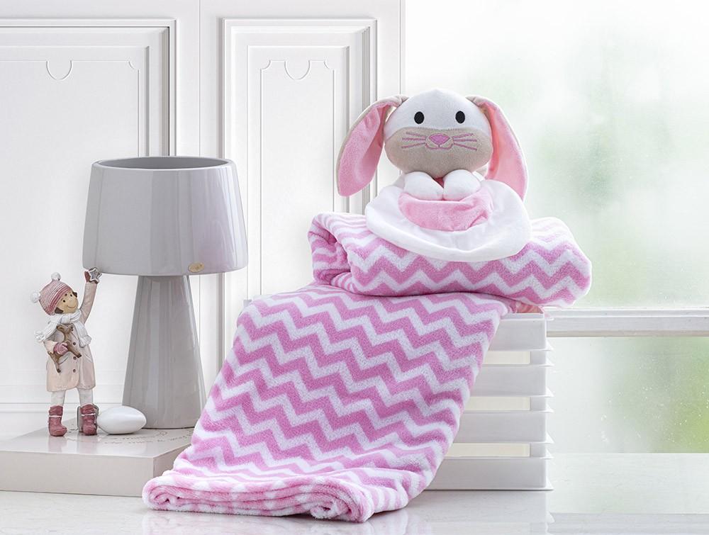 Manta Para Bebê - Com Naninha - 1,00m x 0,75m - Coelhinha Rosa - Corttex