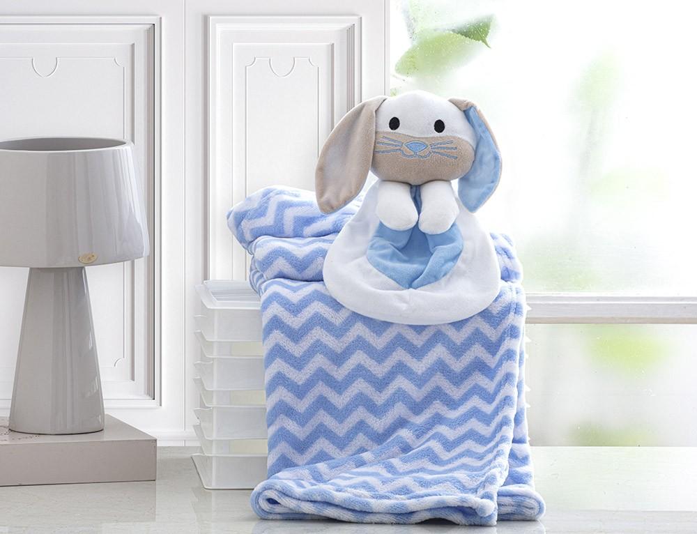 Manta Para Bebê - Com Naninha - 1,00m x 0,75m - Coelhinho Azul - Corttex