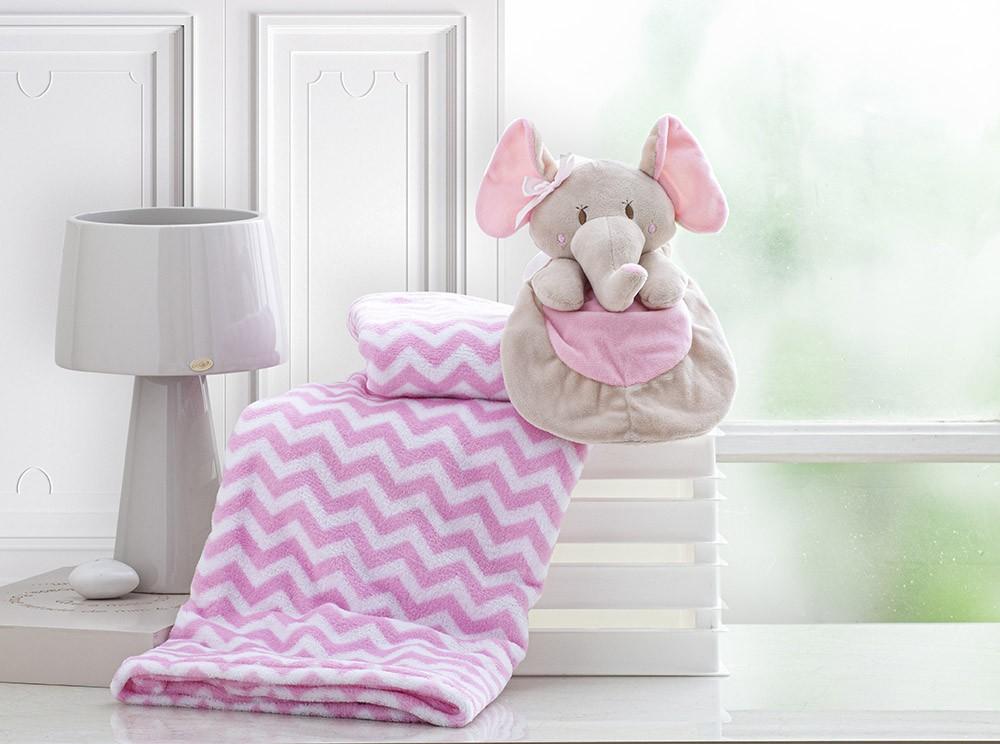 Manta Para Bebê - Com Naninha - 1,00m x 0,75m - Elefantinha Rosa - Corttex