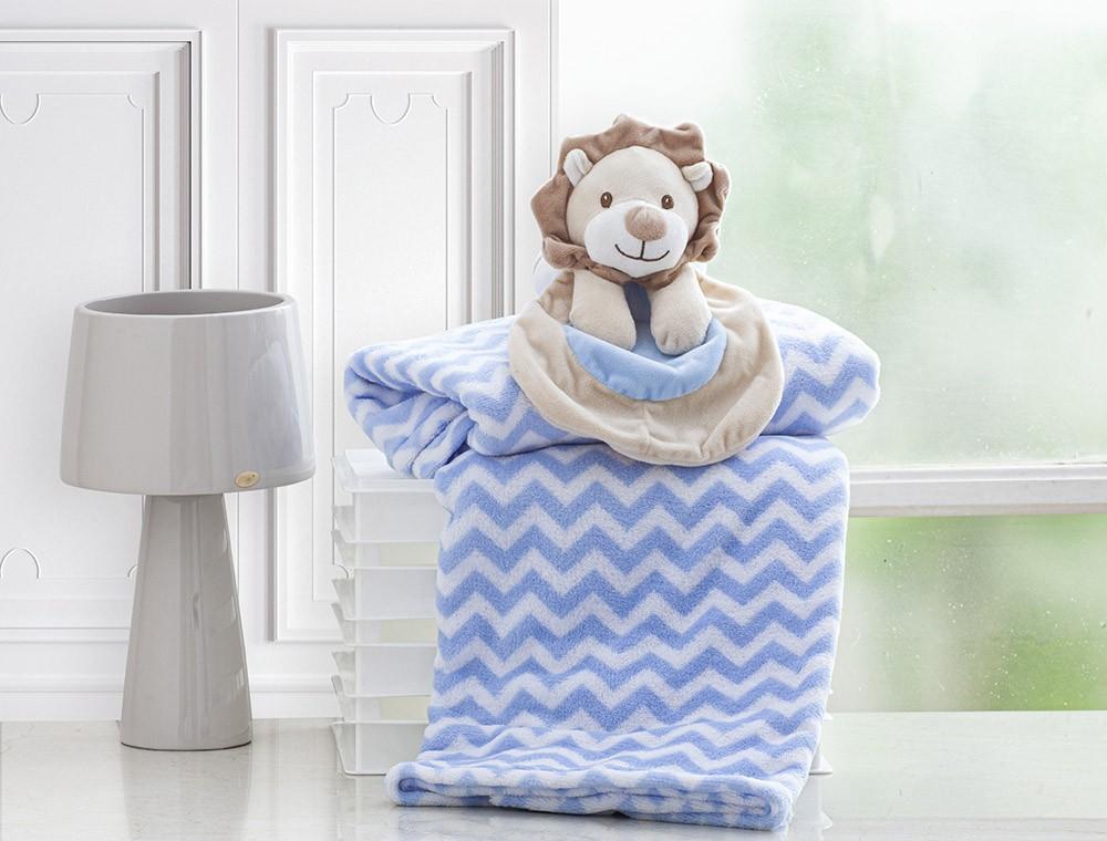 Manta Para Bebê - Com Naninha - 1,00m x 0,75m - Leãozinho Azul - Corttex
