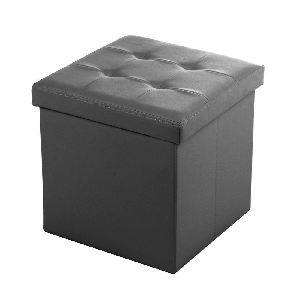 Puff Baú Dobrável - Couro Sintético - 38cm x 38cm x 38cm - Chumbo - Niazitex