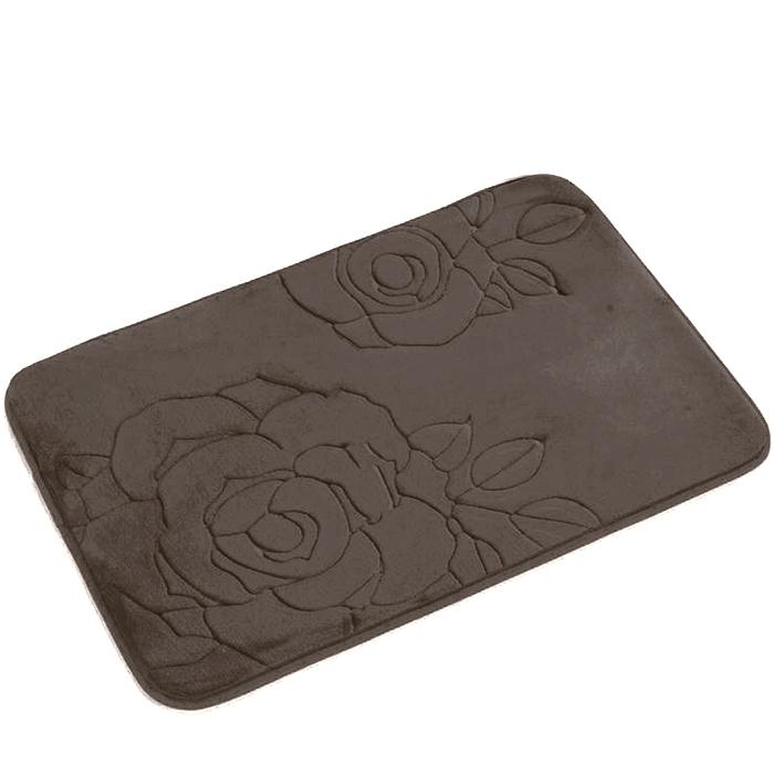Tapete de Banheiro - Flor - 60cm x 40cm - Marrom - Blanco