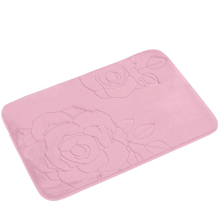 Tapete de Banheiro - Flor - 60cm x 40cm - Rosé - Blanco