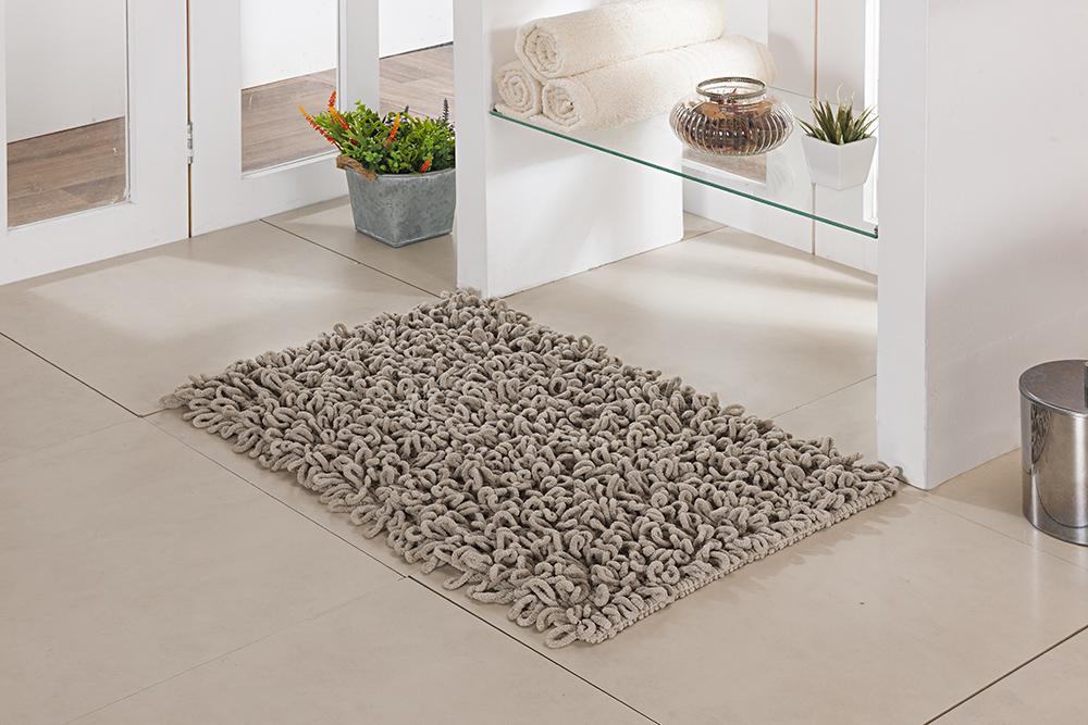 Tapete de Banheiro - Loop - 60cm x 40cm - Bege - Niazitex