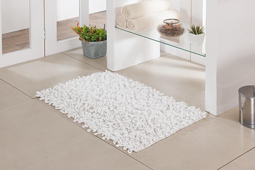 Tapete de Banheiro - Loop - 60cm x 40cm - Branco - Niazitex