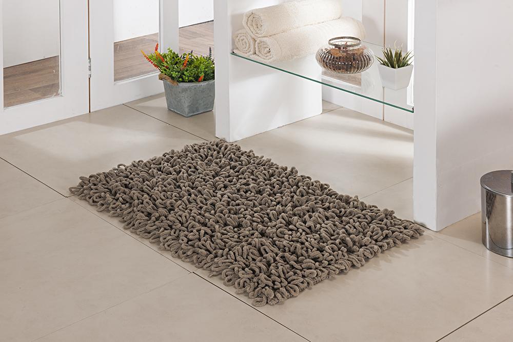 Tapete de Banheiro - Loop - 60cm x 40cm - Caqui - Niazitex