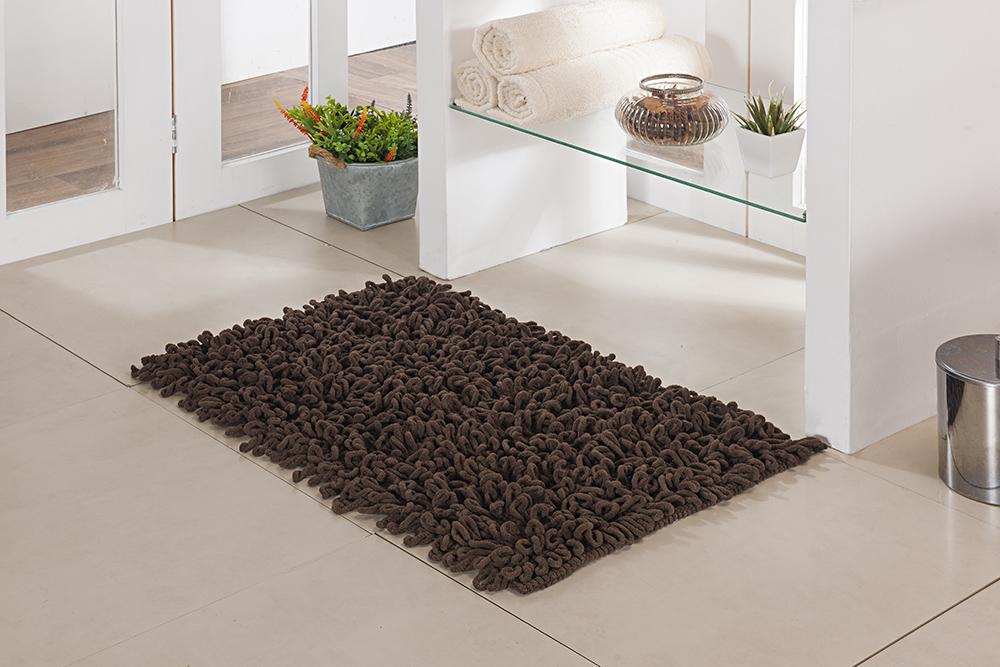 Tapete de Banheiro - Loop - 60cm x 40cm - Chocolate - Niazitex