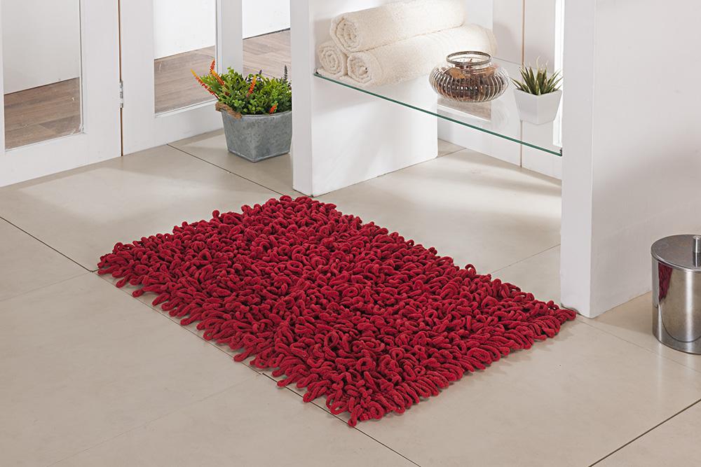 Tapete de Banheiro - Loop - 60cm x 40cm - Vermelho - Niazitex