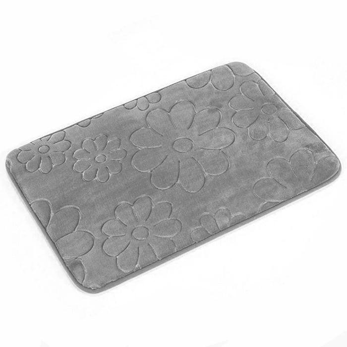 Tapete de Banheiro - Margarida - 60cm x 40cm - Cinza - Blanco
