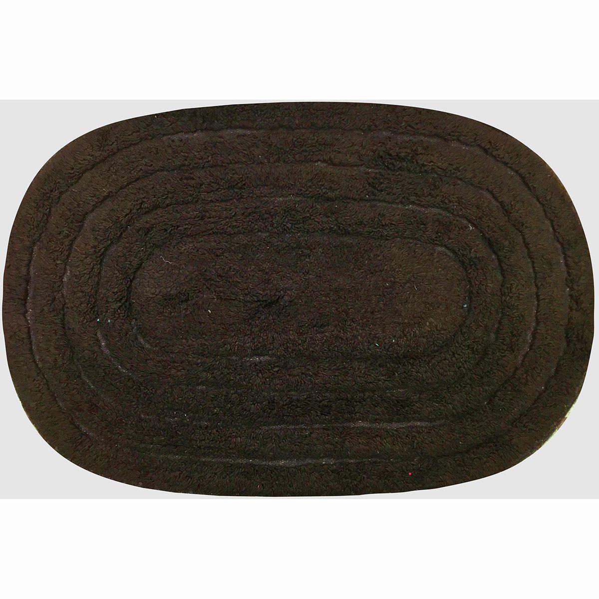 Tapete de Banheiro - Oval - Michigan - 60cm x 40cm - Marrom - Niazitex