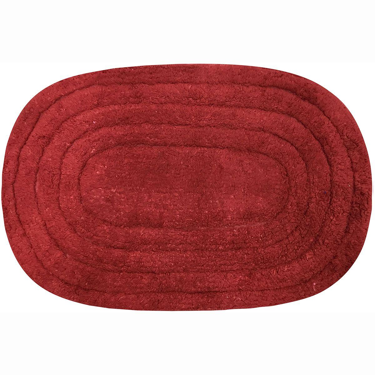 Tapete de Banheiro - Oval - Michigan - 60cm x 40cm - Vermelho - Niazitex