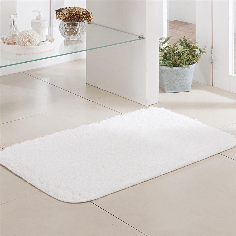 Tapete de Banheiro - Pelúcia - Pueblo - 60cm x 40cm - Branco - Niazitex