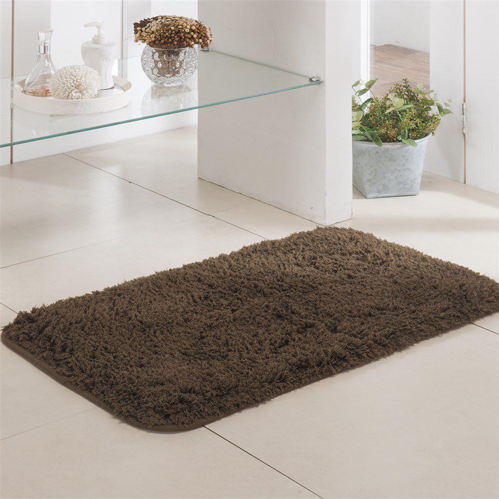 Tapete de Banheiro - Pelúcia - Pueblo - 60cm x 40cm - Marrom - Niazitex