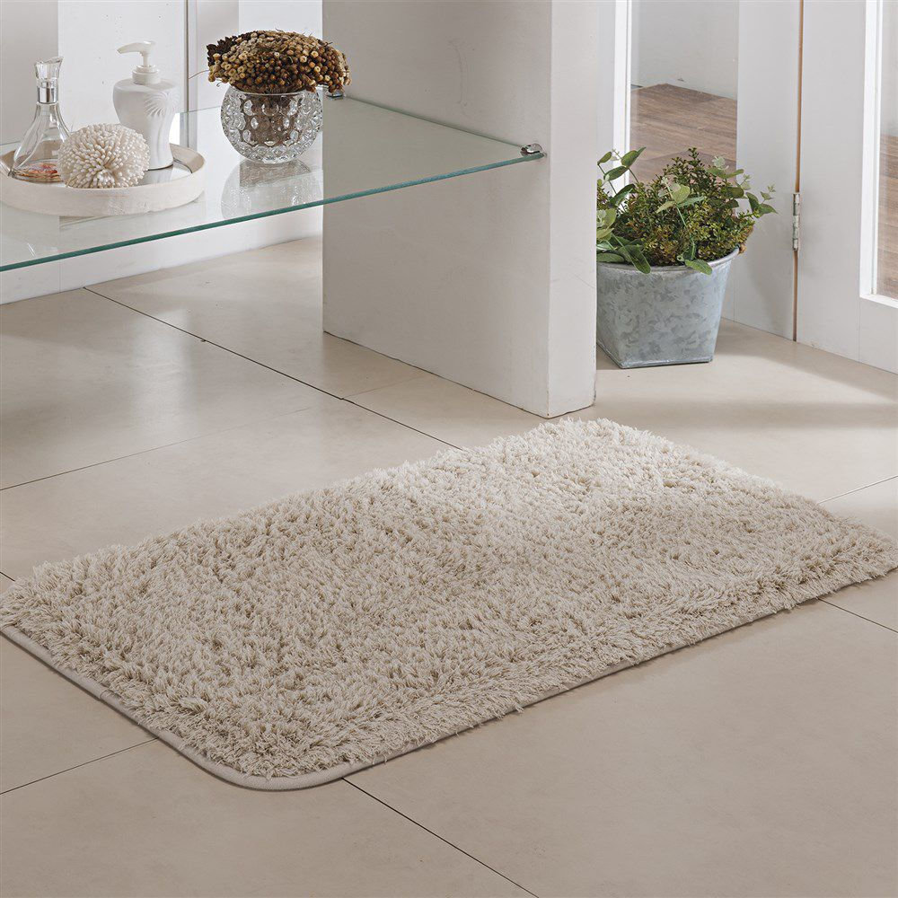 Tapete de Banheiro - Pelúcia - Pueblo - 60cm x 40cm - Marfim - Niazitex