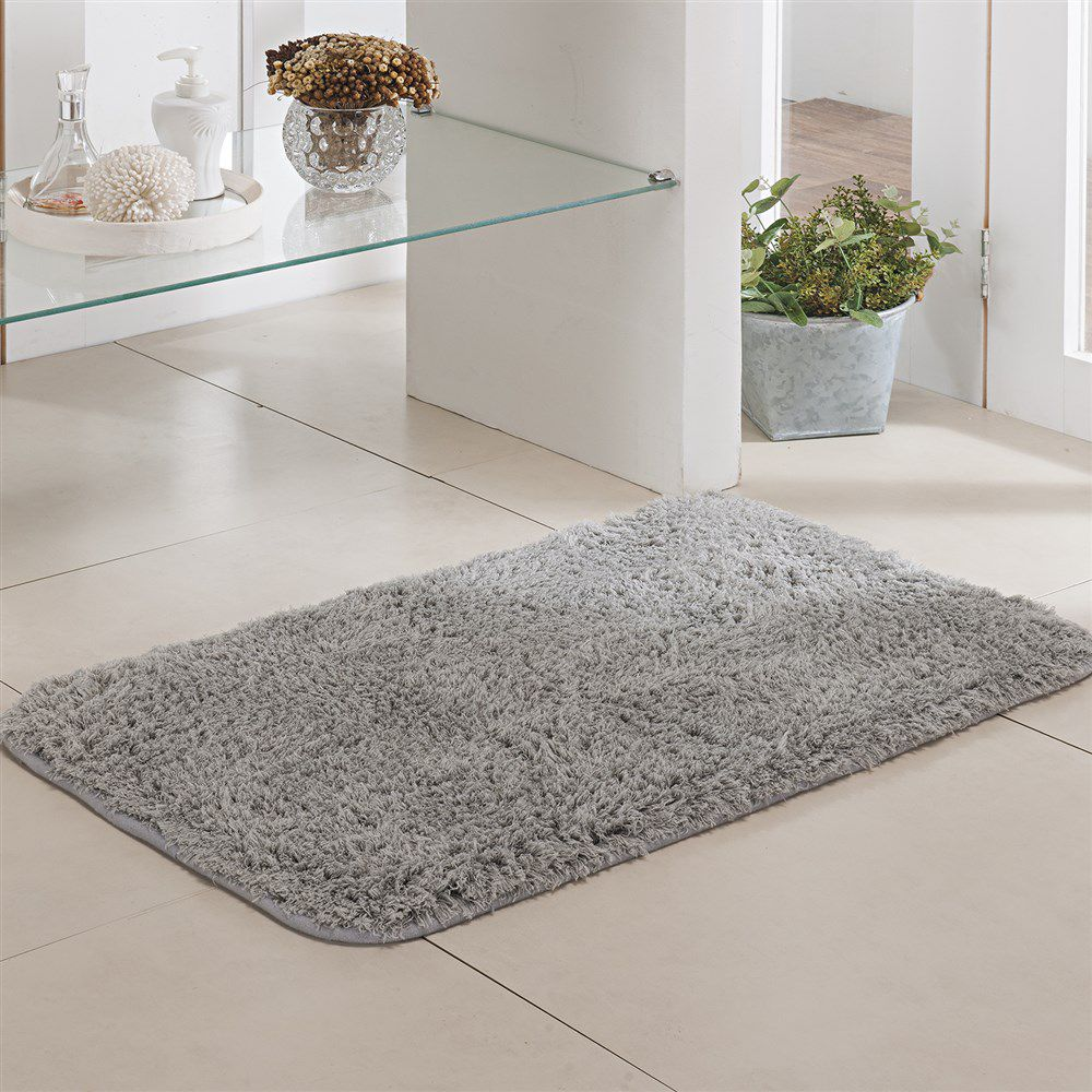 Tapete de Banheiro - Pelúcia - Pueblo - 60cm x 40cm - Prata - Niazitex