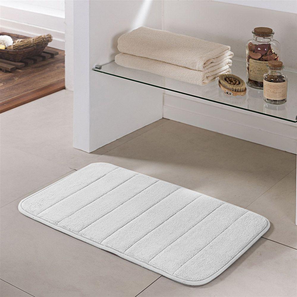 Tapete de Banheiro - Super Soft - Miami - 60cm x 40cm - Branco - Niazitex
