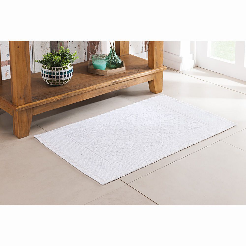 Tapete de Banheiro - Turco - Vermont - 60cm x 40cm - Branco - Niazitex