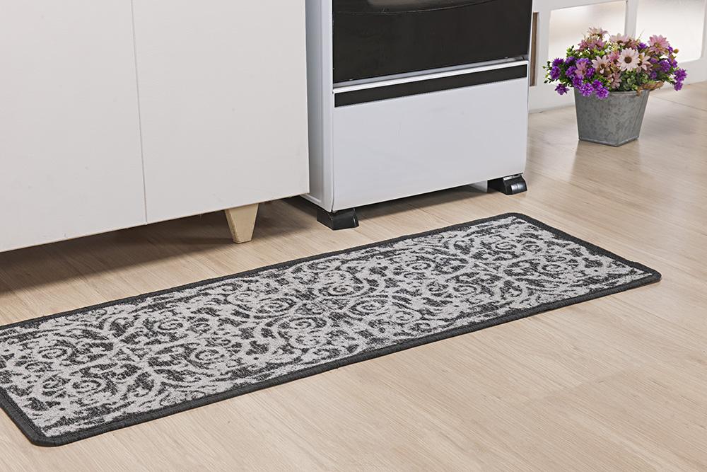 Tapete P/ Cozinha - Boucle Moderno - 0,45m x 1,20m - Preto - Niazitex