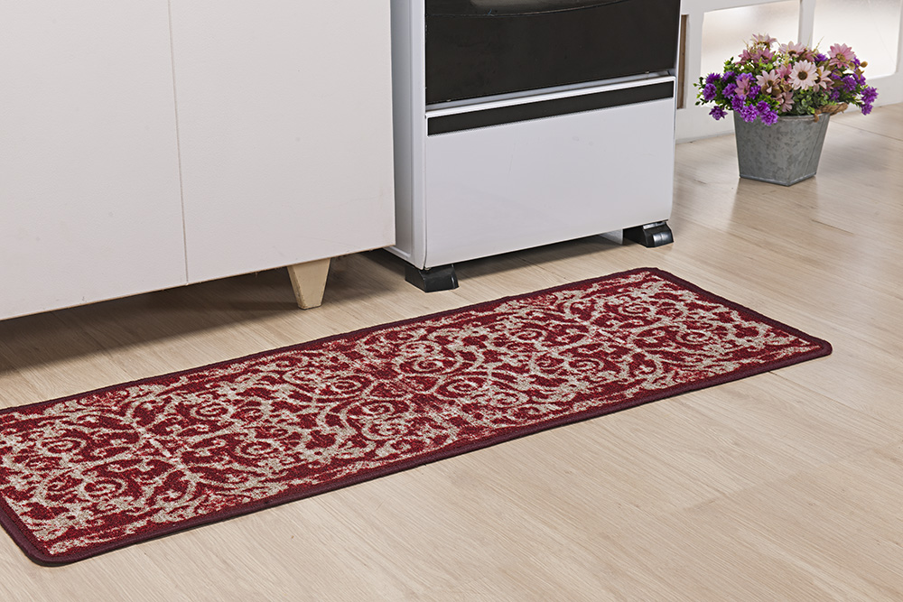 Tapete P/ Cozinha - Boucle Moderno - 0,45m x 1,20m - Vermelho - Niazitex