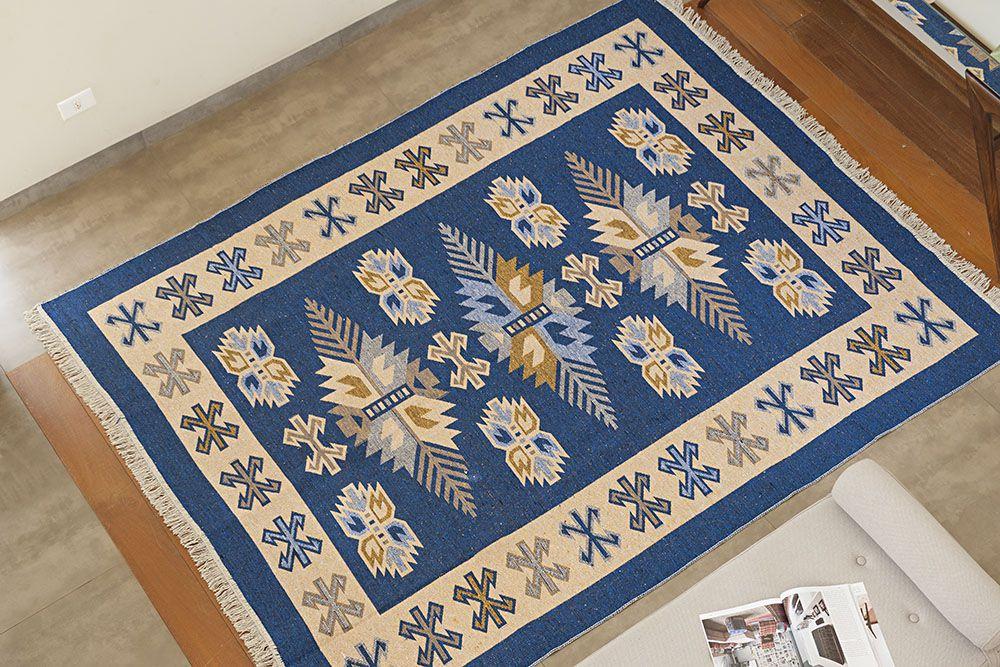 Tapete Turco Kilim - Antep - 1,00m x 1,40m - Azul - Desenho 001 - Niazitex