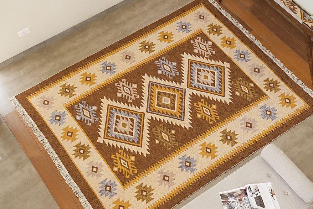 Tapete Turco Kilim - Antep - 1,40m x 2,00m - Marrom - Desenho 002 - Niazitex
