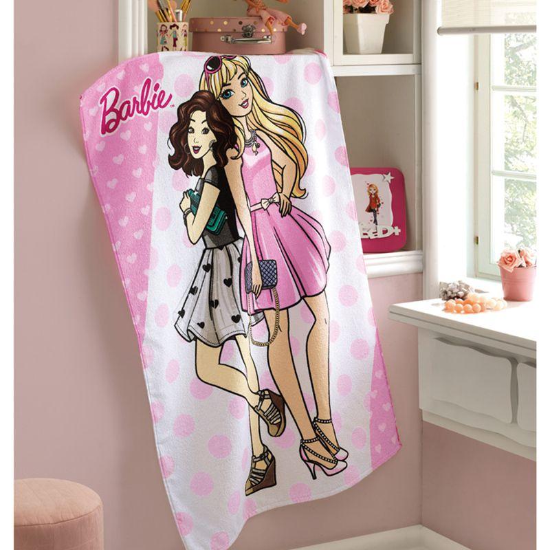 Toalha de Banho Infantil - Barbie 10 - Felpuda - Dohler
