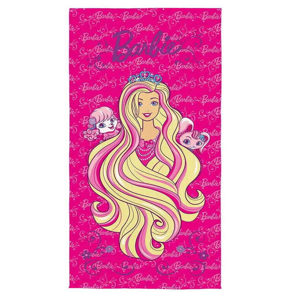 Toalha de Banho Infantil - Barbie Reino dos Penteados Mágicos - Aveludada - Lepper