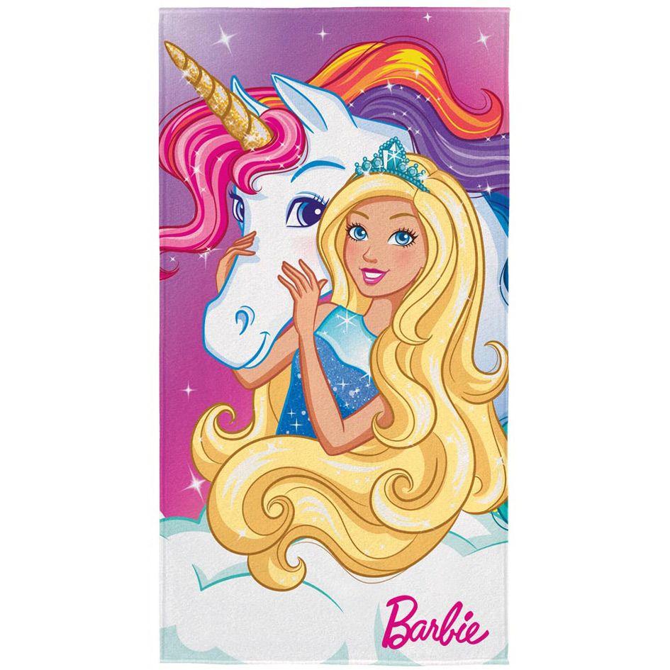Toalha de Banho Infantil - Barbie Reinos Mágicos do Arco íris - Aveludada - Lepper
