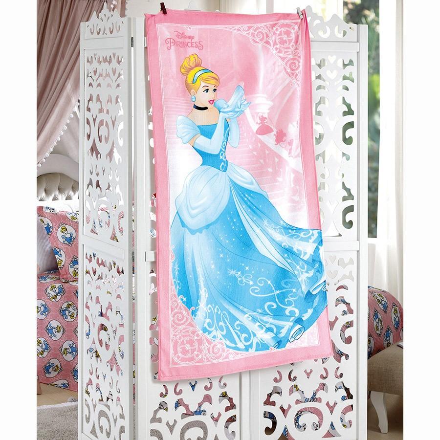 Toalha de Banho Infantil - Cinderela 04 - Aveludada - Dohler