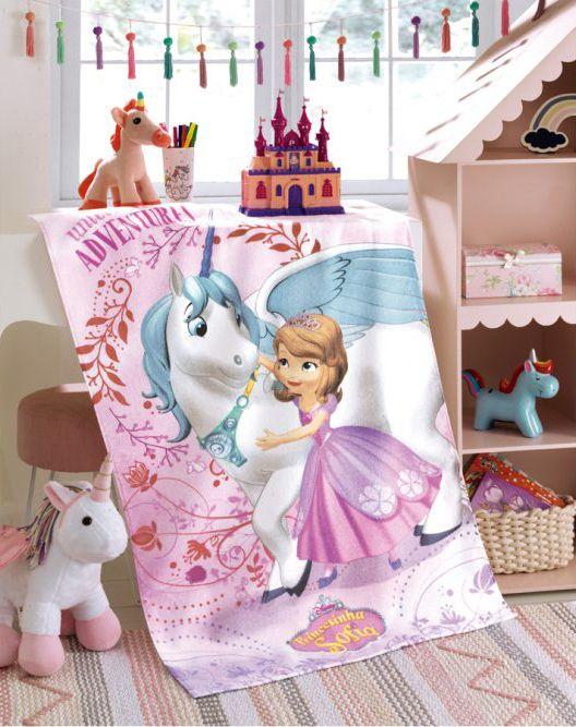 Toalha de Banho Infantil - Princesa Sofia 08 - Felpuda - Dohler