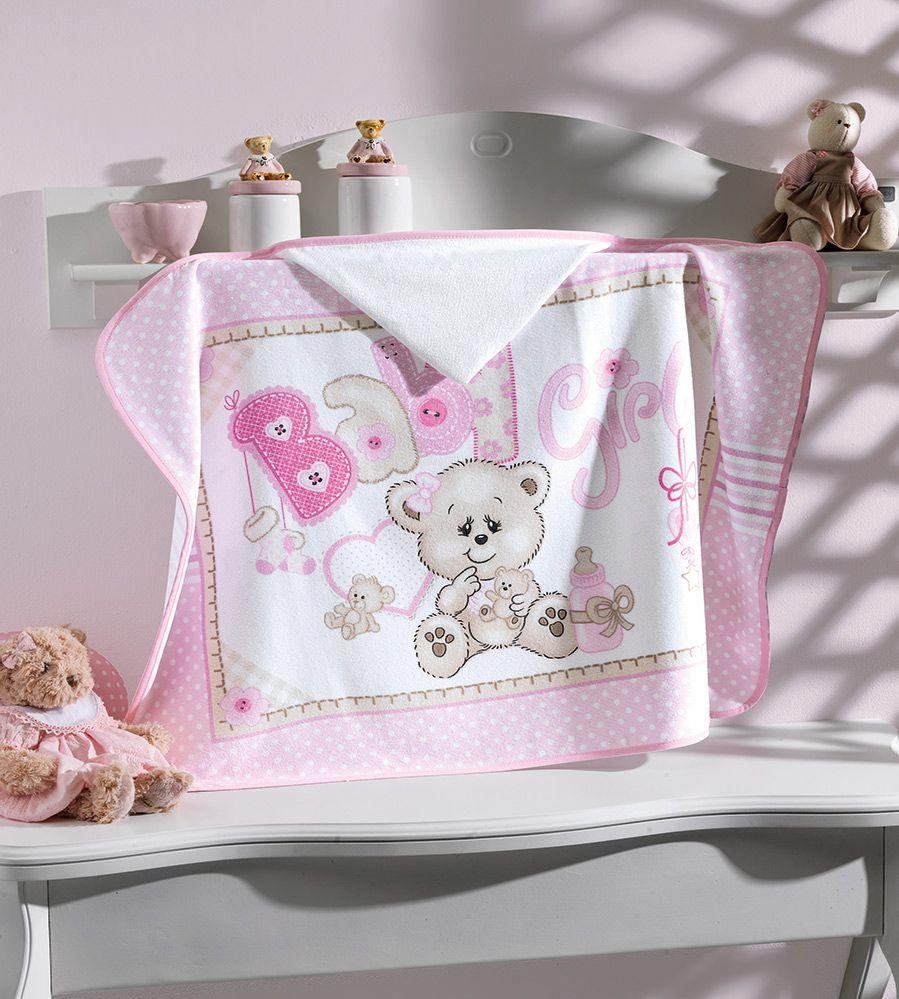 Toalha de Banho P/ Bebê - Estampada - Baby Girl - C/ Capuz - Dohler