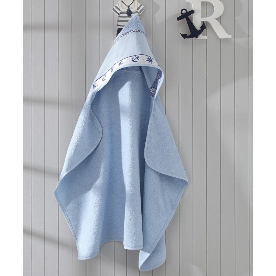Toalha de Banho P/ Bordar - Baby Kids - Nautico - Azul 7239 - P/ Bordar - C/ Capuz - Dohler