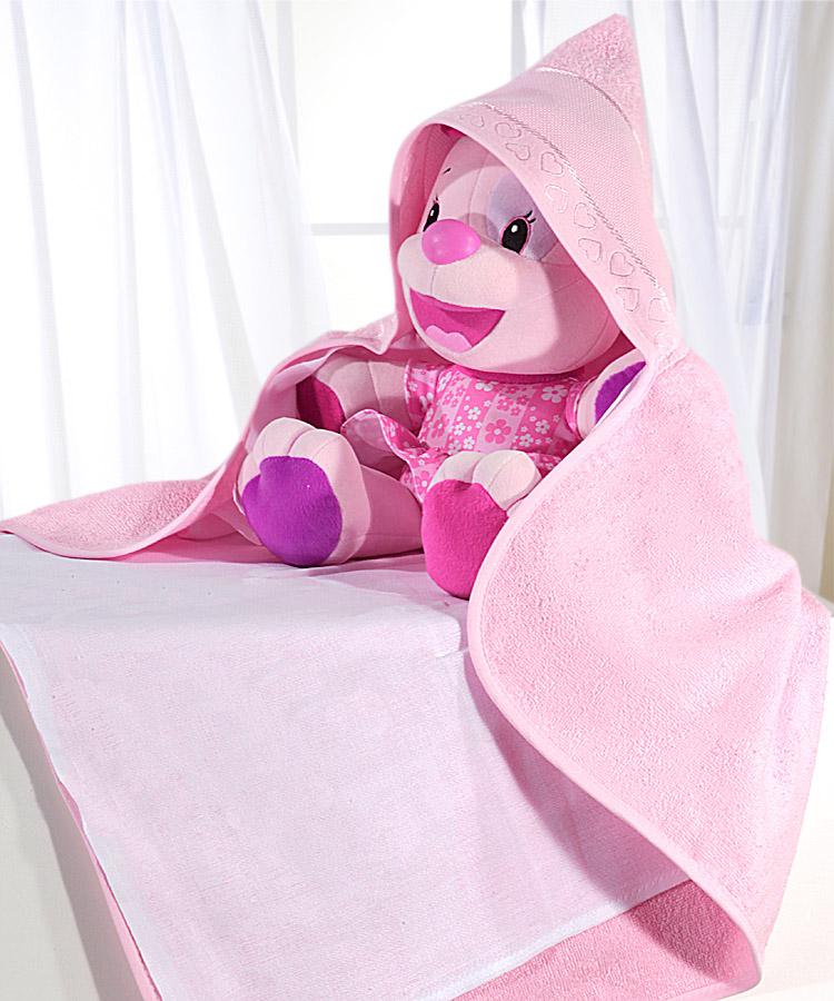 Toalha de Banho P/ Bordar - Baby Love - Rosa 5211 - C/ Fralda - C/ Capuz - Dohler