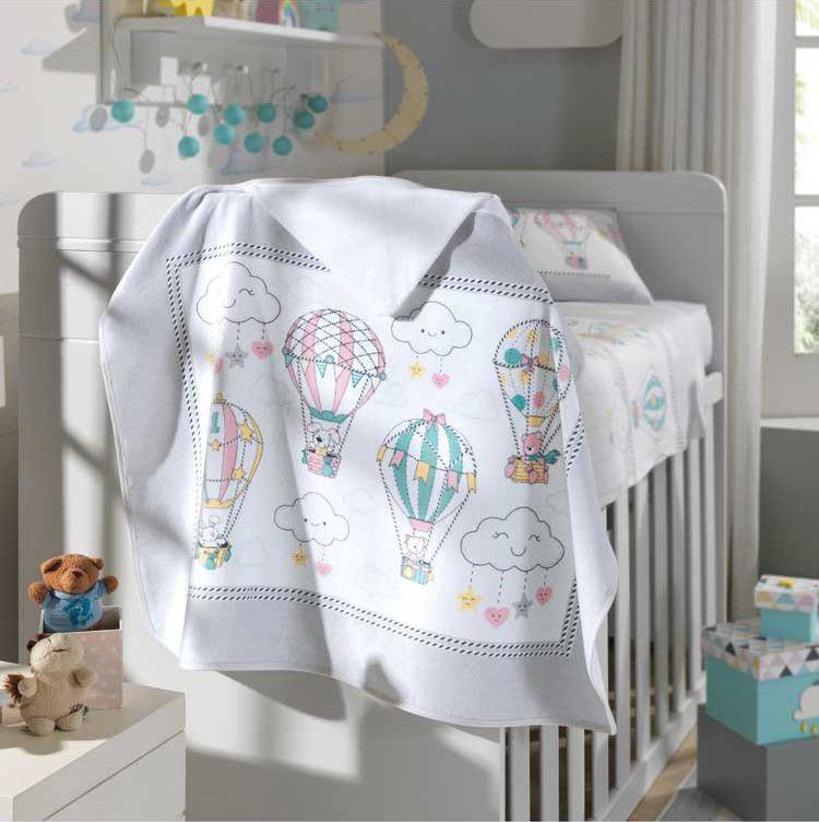 Toalha de Banho P/ Bebê - Estampada - Balões - 100% Algodão - C/ Capuz - Dohler