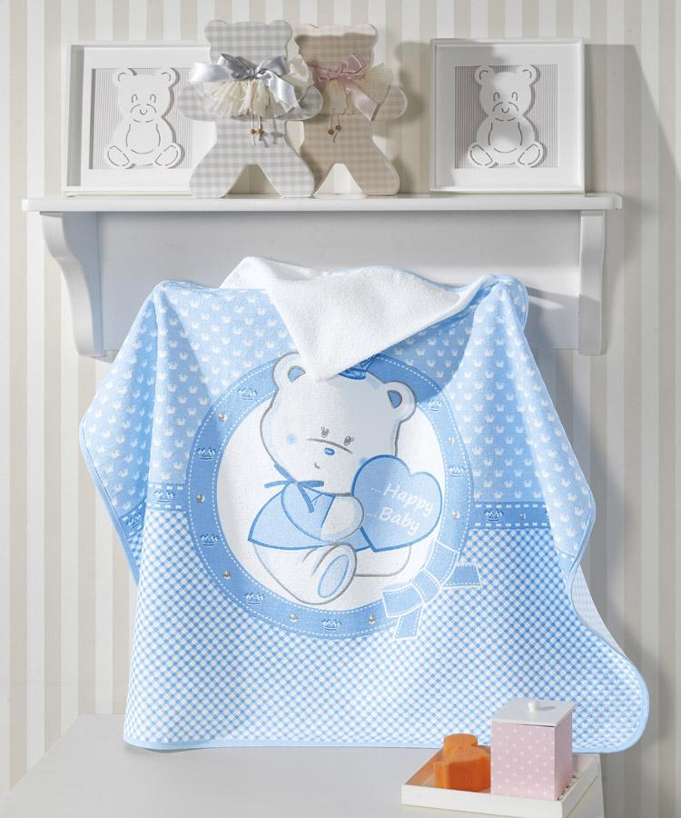 Toalha de Banho P/ Bebê - Estampada - Happy Baby - Azul - C/ Capuz - Dohler