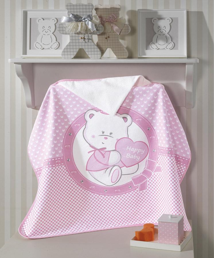 Toalha de Banho P/ Bebê - Estampada - Happy Baby - Rosa - C/ Capuz - Dohler