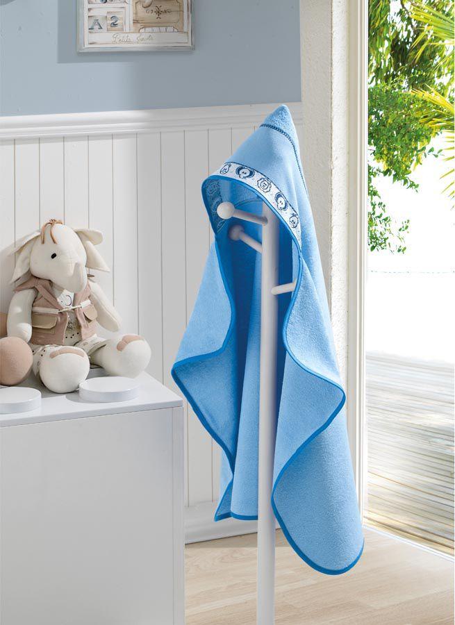 Toalha de Banho P/ Bordar - Baby Kids - Zoo - Azul 6089 - C/ Capuz - Dohler