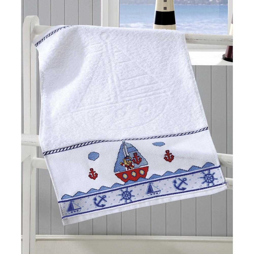 Toalha de Lavabo P/ Bordar - Baby Kids - Náutico - Branco 0001 - Dohler