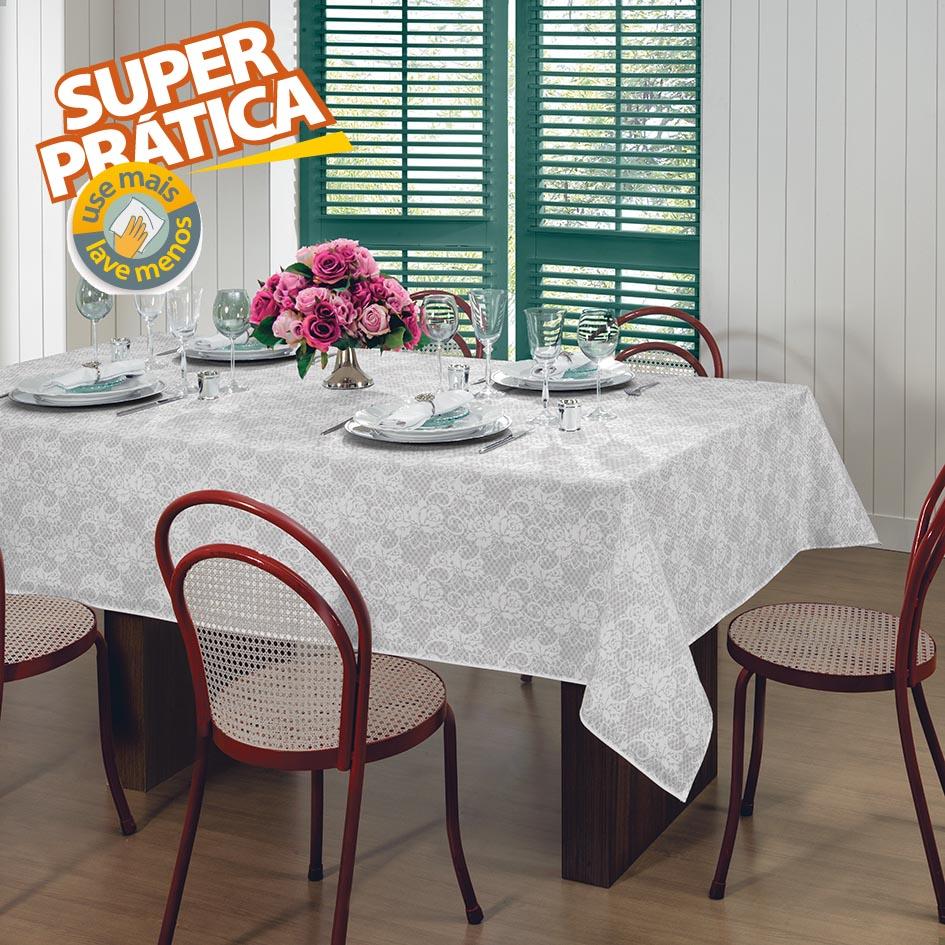 Toalha de Mesa - Gardênia Elegance - Branca - Retangular - 8 Lugares - Lepper