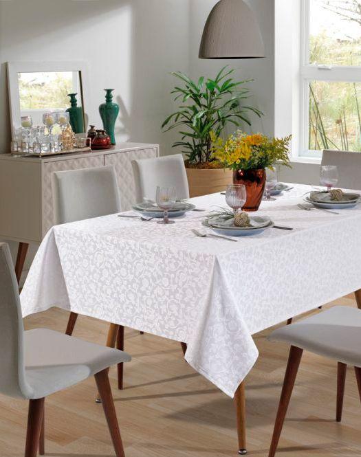 Toalha de Mesa - Jacquard Requinte - Floral - Branca - Retangular - 8 Lugares - Dohler