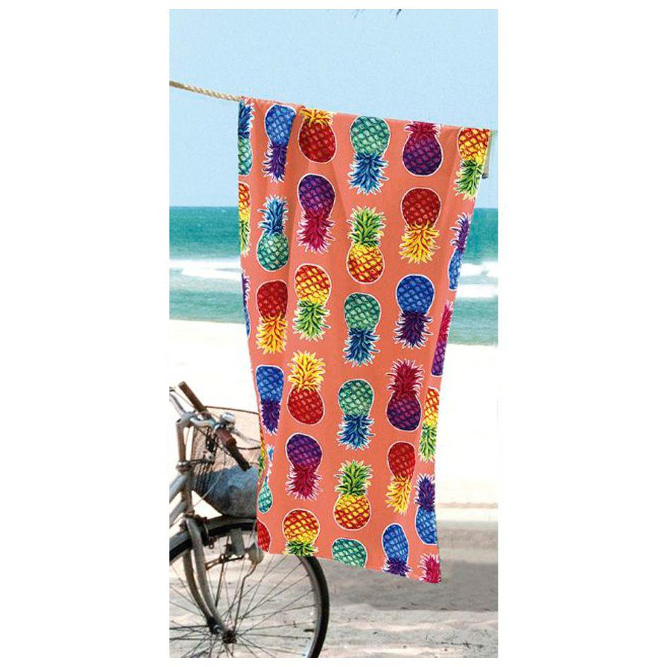 Toalha de Praia - Colorful Pineapples  - Aveludada - Dohler