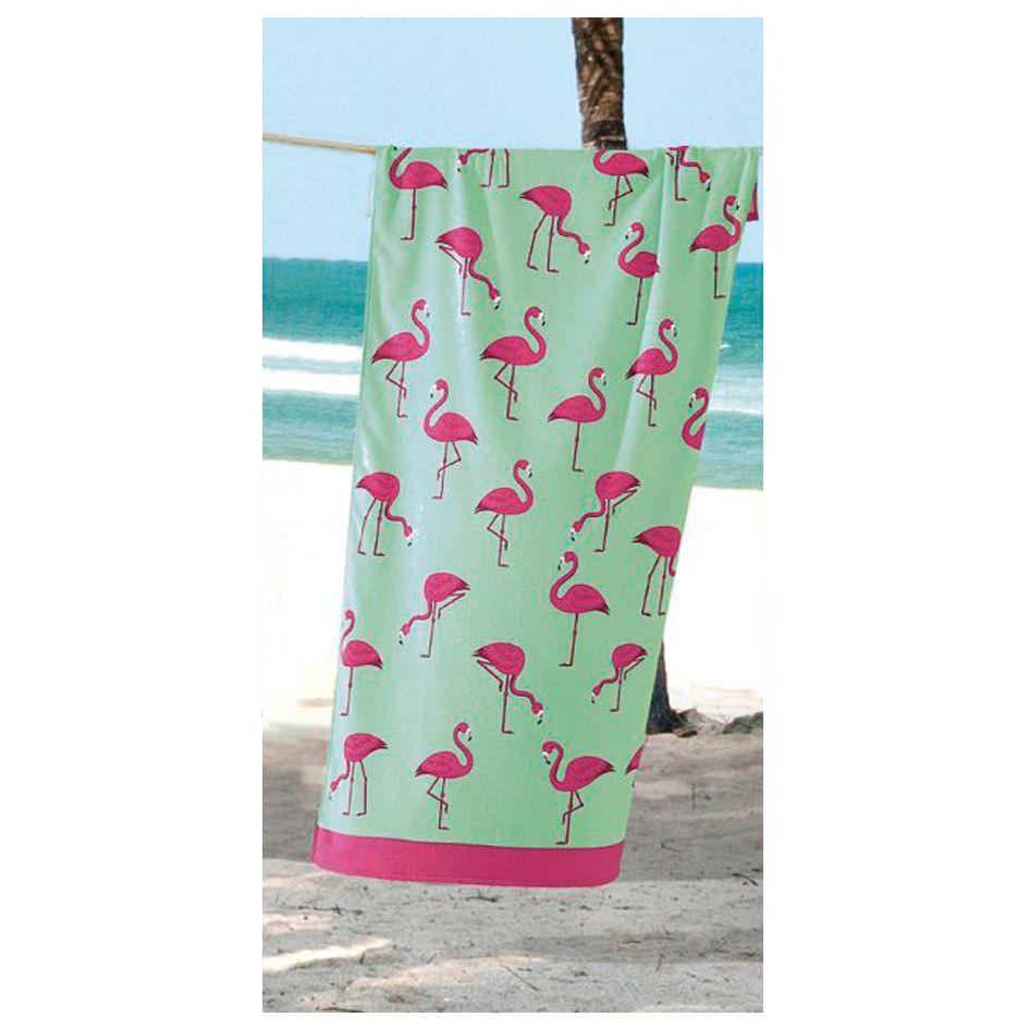 Toalha de Praia - Multi Flamingos - Aveludada - Dohler