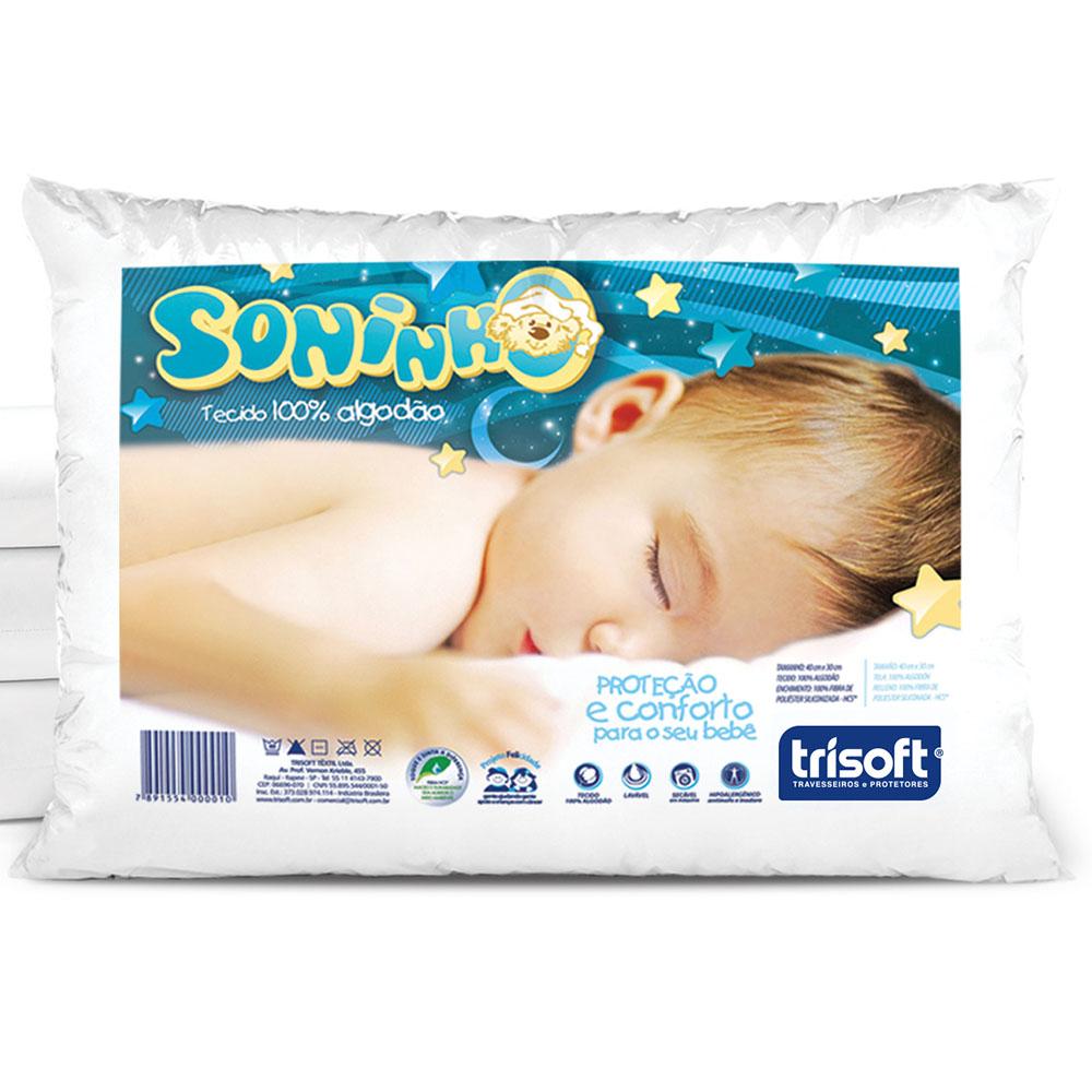 Travesseiro P/ Bebê - Soninho - 30cm x 40cm - Trisoft