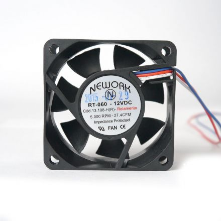Miniventilador Código 13.108 HR  Dimensão (mm) 60X60X25 12 VDC