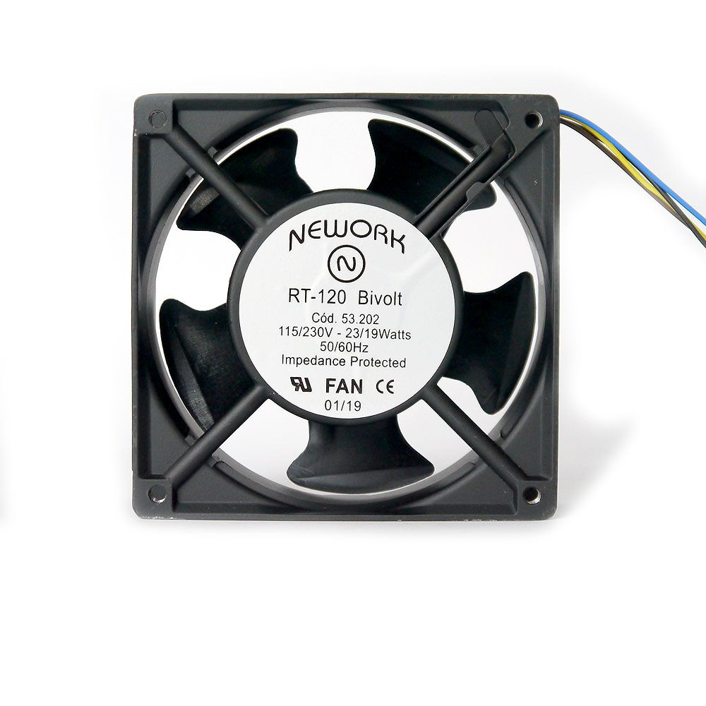 Miniventilador Código 53.202 Dimensão (mm) 120X120X38 Bivolt