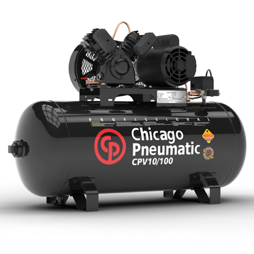 Compressor de Ar 10 pés, 2HP, Monofásico 100 Litros - Chicago Pneumatic