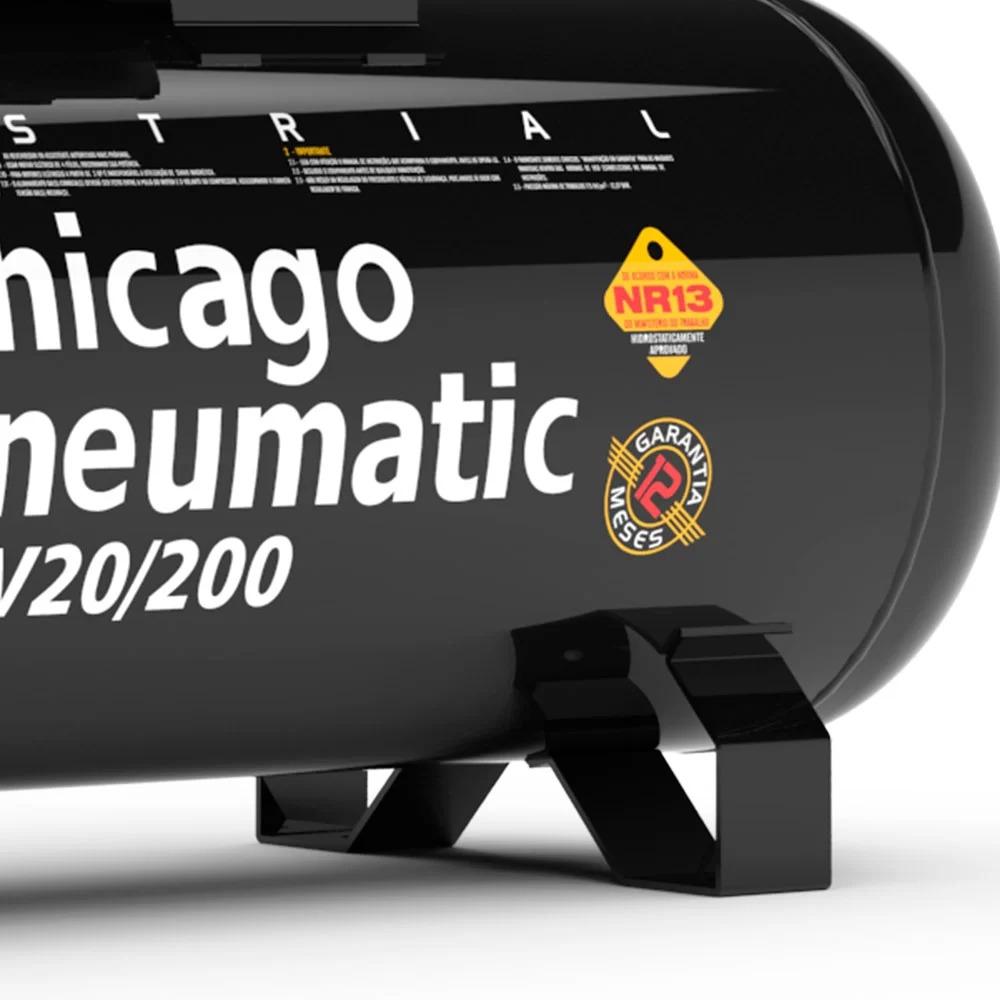 Compressor de ar 5HP 20 Pés 200 Litros 220/380V Trifásico alta pressão 175lbs Chicago pneumatic