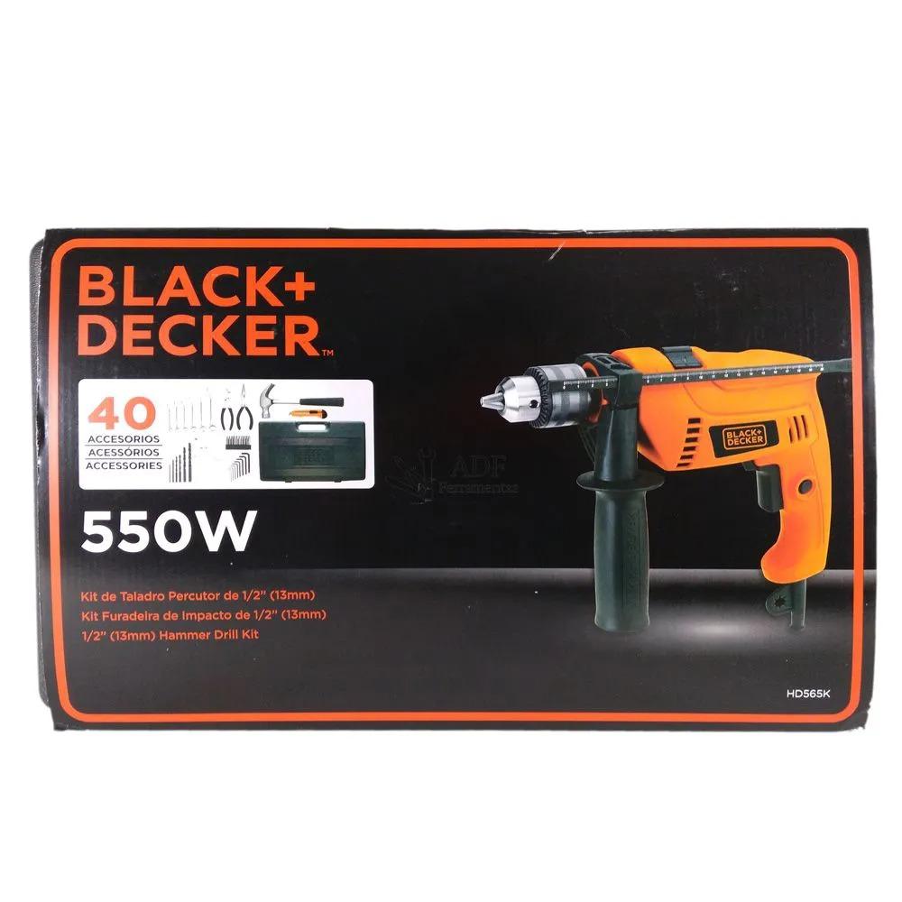 Furadeira de Impacto 1/2 Black+ Decker 550W + kit 40 peças HD565K 220V